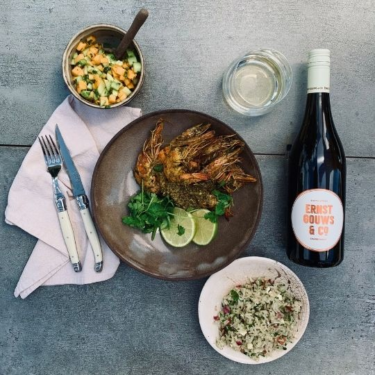 Dry curry grilled prawns with spiced rice salad and fresh peach salsa – Pasch du Plooy